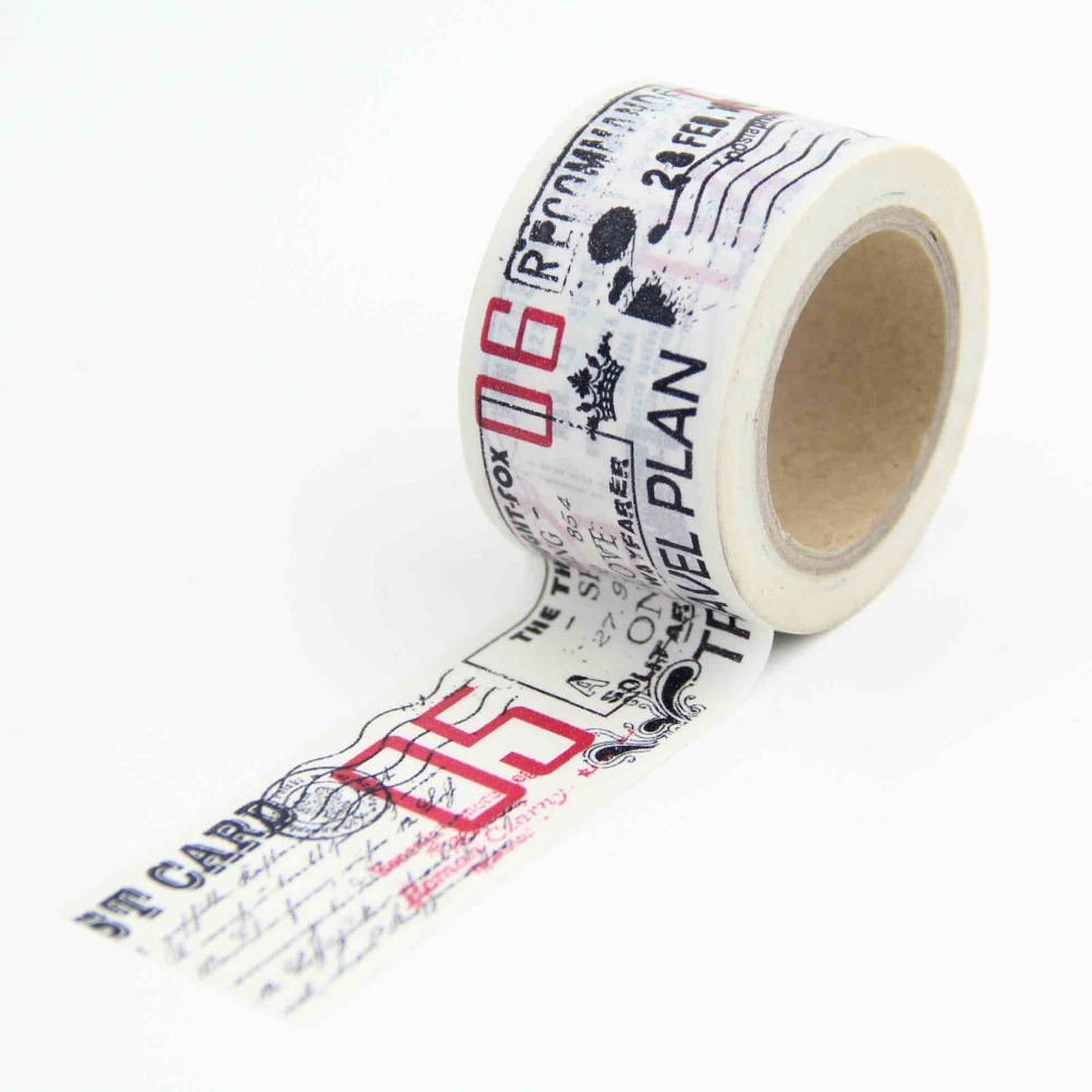 Retro Newspaper Chops Stamps Washi Paper Masking Tapes Scrapbooking Floral Tape Gift Wrapping Sticker DIY Stickers Decals