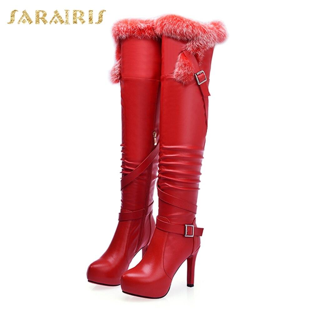 Sarairis rouge Femme Bottes Noir Plate Cuir Talons Grande Vache On En Chaussures Véritable Taille 40 Mince Haute Over De forme High Slip Knee 34 zqwTzrgBx