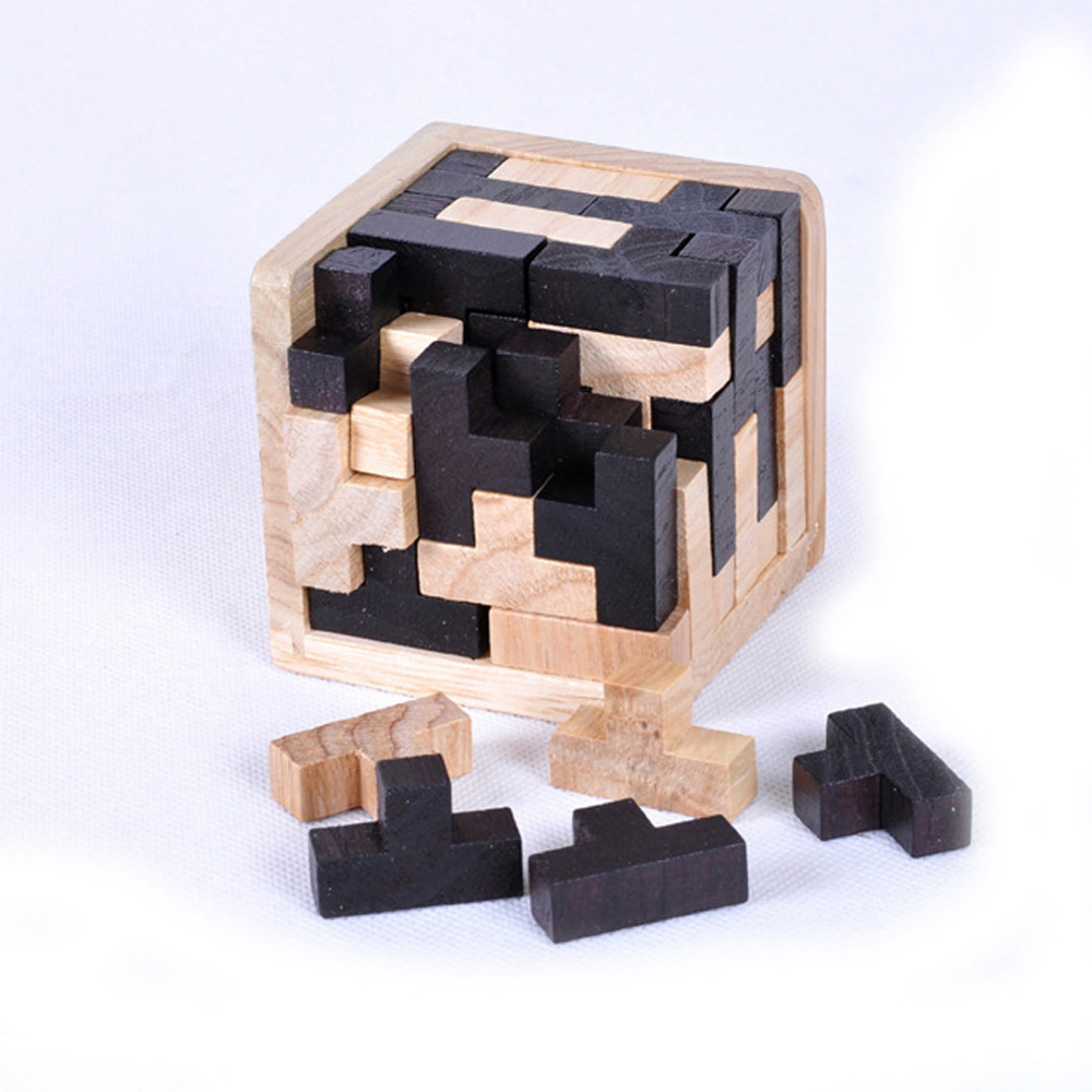 3D Puzzle Interlocking Wooden Cube Toys Kids IQ Brain Teaser Early Learning Educational Toys Children Montessori Cube Puzzles цена
