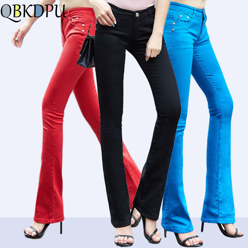QBKDPU Plus Size Colored Pants flare Trouser 2019 Black and White Bell Bottom Pants Sexy Party Club   Jeans   Pantalones para mujer