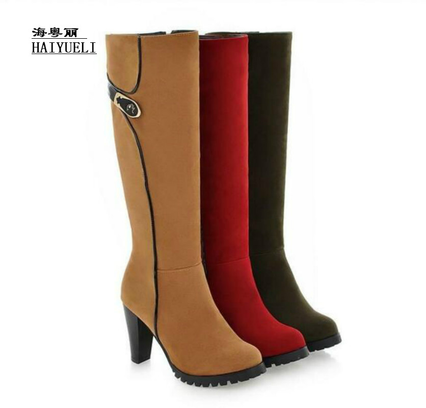 Big size 34-43 hot new sexy thick heels knee high boots zipper fashion shoes autumn winter long riding boots
