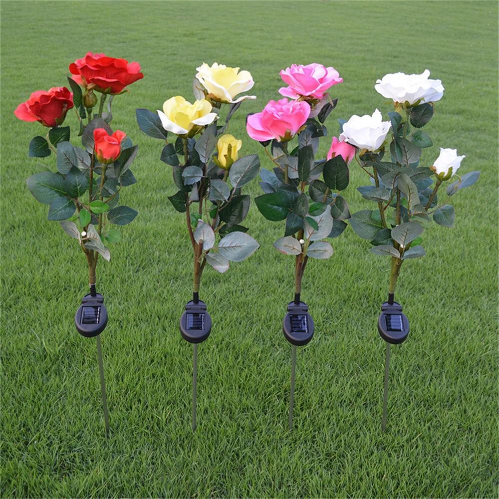 2pcs/lot Rose Flower Solar LED Light Garden Yard Lawn NightLight Lamp Landscape Garden Home Decoration Lights White Lights