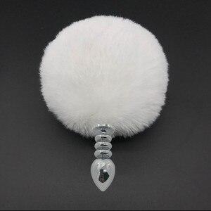 Image 4 - Grote 15 cm Konijn Staart Anaal Plug Sex toys voor Vrouwen Metalen Buttplug Bunny Staart Anale Kralen Butt Plug Unisex seksspeeltje voor Koppels