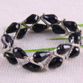 "Free Shipping Fashion Jewelry Black Water Drop Faceted Beads Stretch Crystal Bracelet 7""  1Pcs H1009"