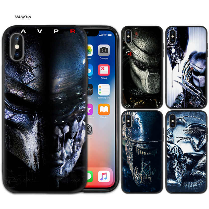 Alien vs Predator Anime Schwarz Peeling Silikon Weiche Fall Abdeckung für iPhone X XS XR XS 11 11Pro Max 7 8 6 6S 5 5S 5C SE Plus Fundas