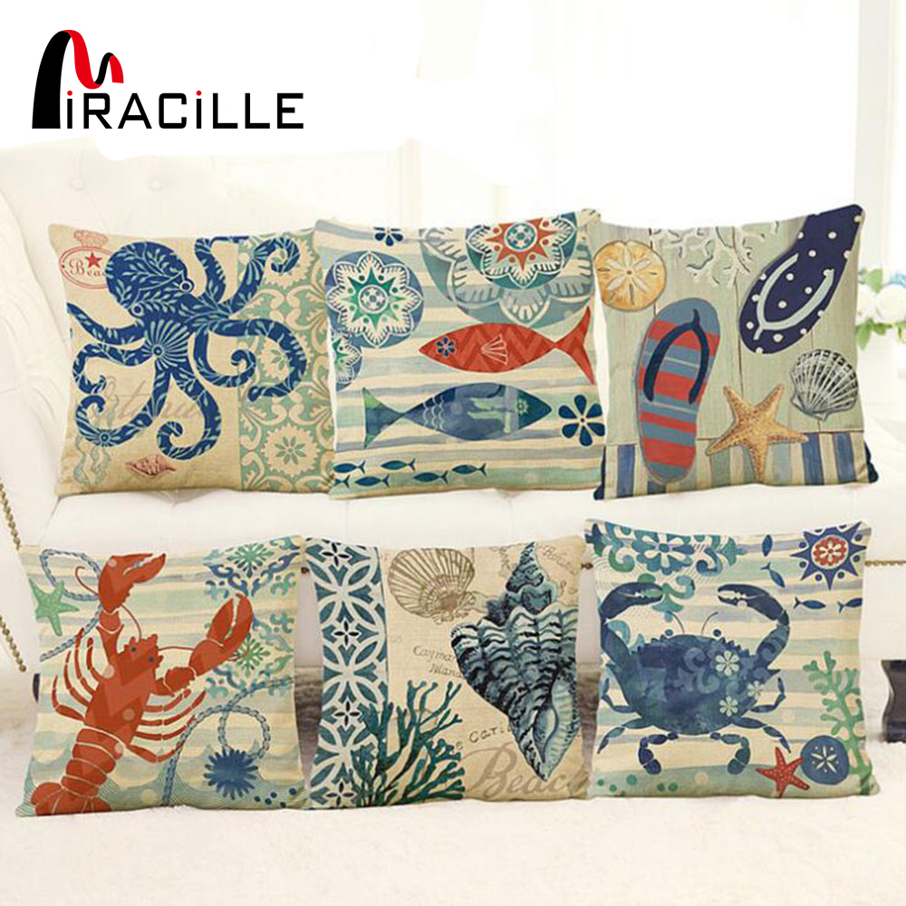 "Miracille Linen 18""Blue Marine Style Octopus sailor Cushion Cover Sofa Decorative Sea Turtle Throw Pillowcase housse de coussi"