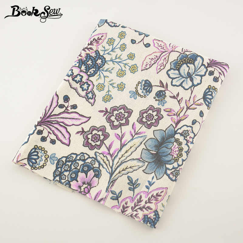 Booksew Cotton Linen Fabric Printed Blooming Flowers Home Textile Sewing Material Tissu For Bag Table Cloth Curtain Decoration