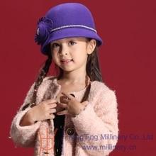 Маленькие девочки мягкие фетровые шляпы 100% шерсть дети свадьба ну вечеринку головные уборы горный хрусталь войлок шляпы и шапки