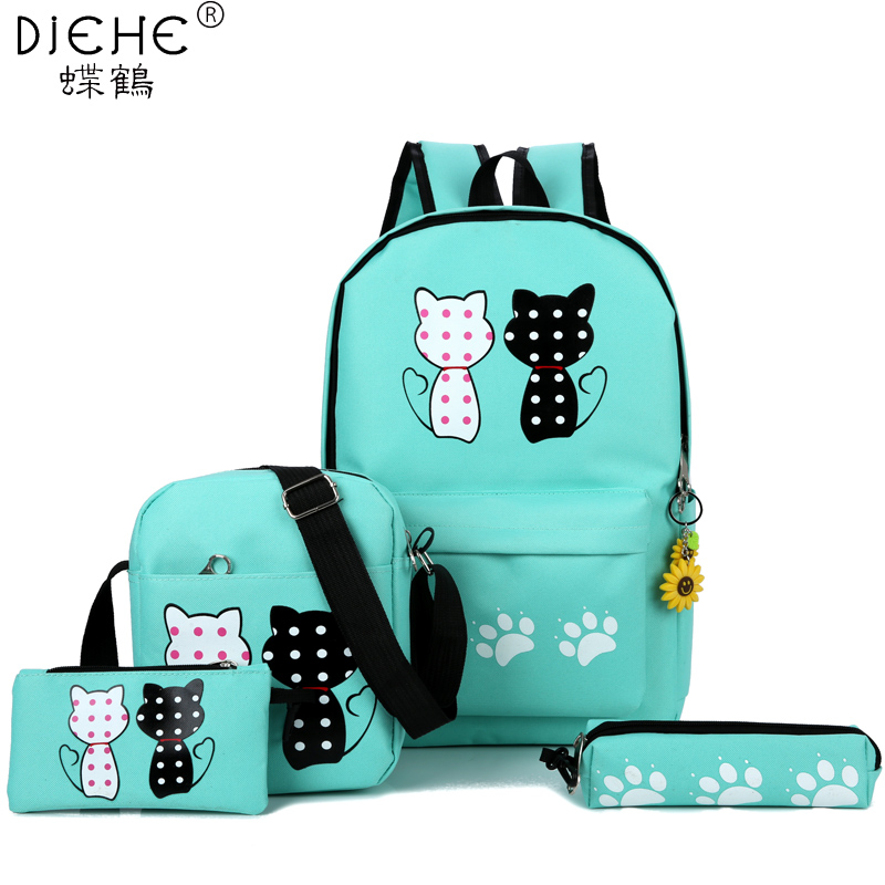 Fashion 4 Pcs/set Women Cute Cat Backpacks School Bags for Teenage Girls and Boys Printing Canvas Backpacks Ladies Shoulder Bags new 4pcs set dot canvas backpacks for teenage girls school bags 2018 women cute bear printing backpack shoulder bags for kids