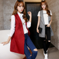 Spring Fashion Slim Sleeveless Blazer Lapel Jacket Coats Solid None-Button Long Waistcoat Vest Chalecos Mujer