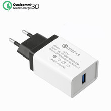 EU Quick Charger QC 3.0 USB Phone Charger Fast Charger for Samsung Galaxy S8 Qualcomm QC 3.0 Fast Charger for iphone 6 6s 7Plus