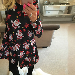 VIEUNSTA Autumn Winter Christmas Dress 2018 New Year Festival Family Party Dress Women Snowflake Print Dress Vestidos Plus 5XL 3