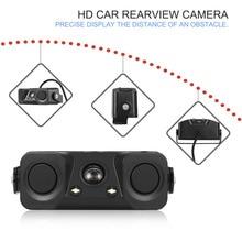 Auto Waterproof Camera Lens 12V-24V HD Car Rearview Camera with Parking Sensor Reversing Radar Camera Night Vision Sound Tip NEW