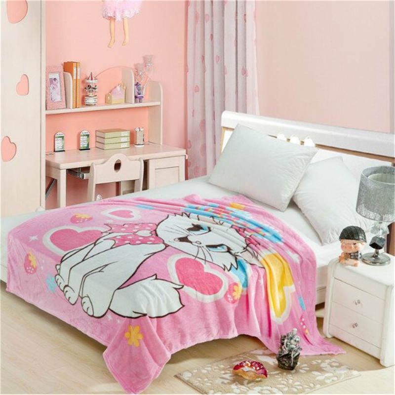 cute Cat Marie blanket 150*200 cm disney cartoon 3d bed linen girl room decor children bedding Coral Fleece thin blanket mickey