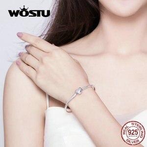 Image 3 - WOSTU Heart Infinity Love Bracelets 100% 925 Sterling Silver Pink Zircon Charm Bracelets Bangle For Women Fashion Jewelry FIB142