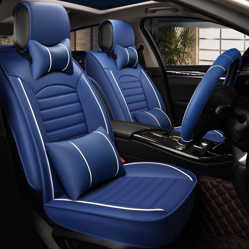 PU Leather Car Seat Cover Four Seasons Universal Luxury Automobiles Covers Black Blue Beige Brown Interior Accessories In