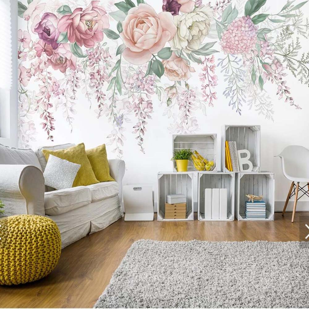 Européen rétro 3D Rose fleur papillon Papier Peint Photo Papier Peint peintures murales pour salon Papier Peint Mural 3d Floral Mual