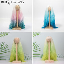 1/6 1/4 1/3 BJD Wig High Quality Heat Resistant Wire Long Afro Pink Blue Green Ombre Color Hair for BJD/SD Dolls [wamami] 701 3pc blue flower clothes dress suit 1 6 sd dz bjd dollfie