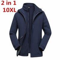 Большие размеры 8XL 7XL Для мужчин 3 в 1 зимняя куртка 2 шт. Спорт на открытом воздухе Ветровка Рыбалка Пеший Туризм Кемпинг Лыжная бренд пальто