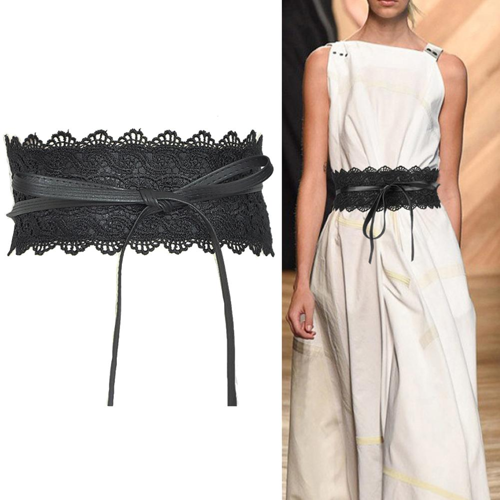 Fashion Solid Color Faux Leather Corset Belt Wide Lace Tie-up Elastic Belt Women Waistband Dress Party WaistBand Belt Sash Decor