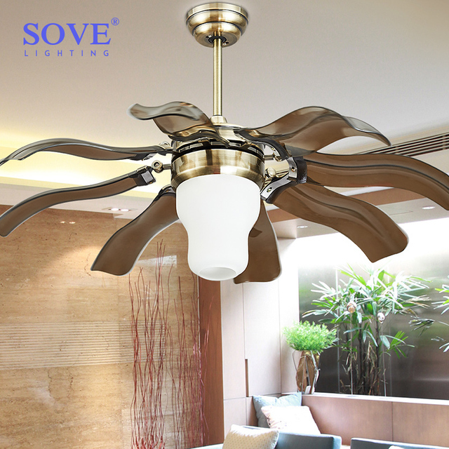 42 Inch Modern Led Bronze Ceiling Fans With Lights Remote Control Living  Room Home Decoration Folding