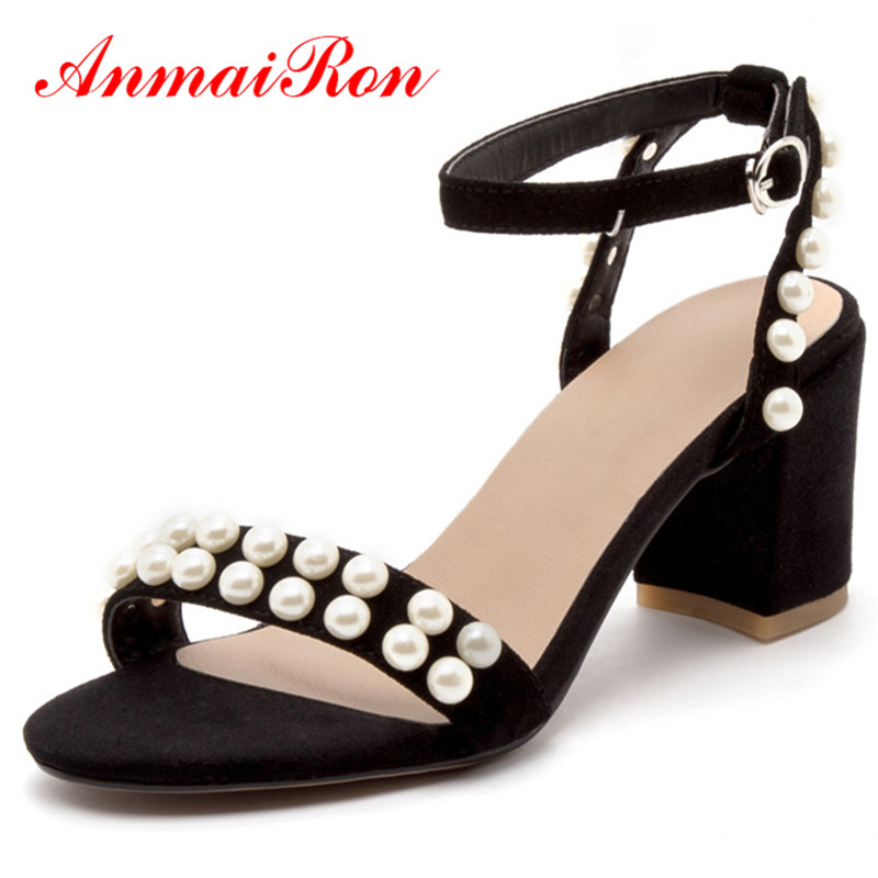 ANMAIRON Buckle Strap Shoes Woman High Heels Open Toe Summer Sandals Pumps Shoe for Womens Plus Size 40 Sweet Party Shoe  ephemeral ladies zip sandals with heels buckle strap open toe summer casual shoes woman spongy insole plus size 11 12 white pink
