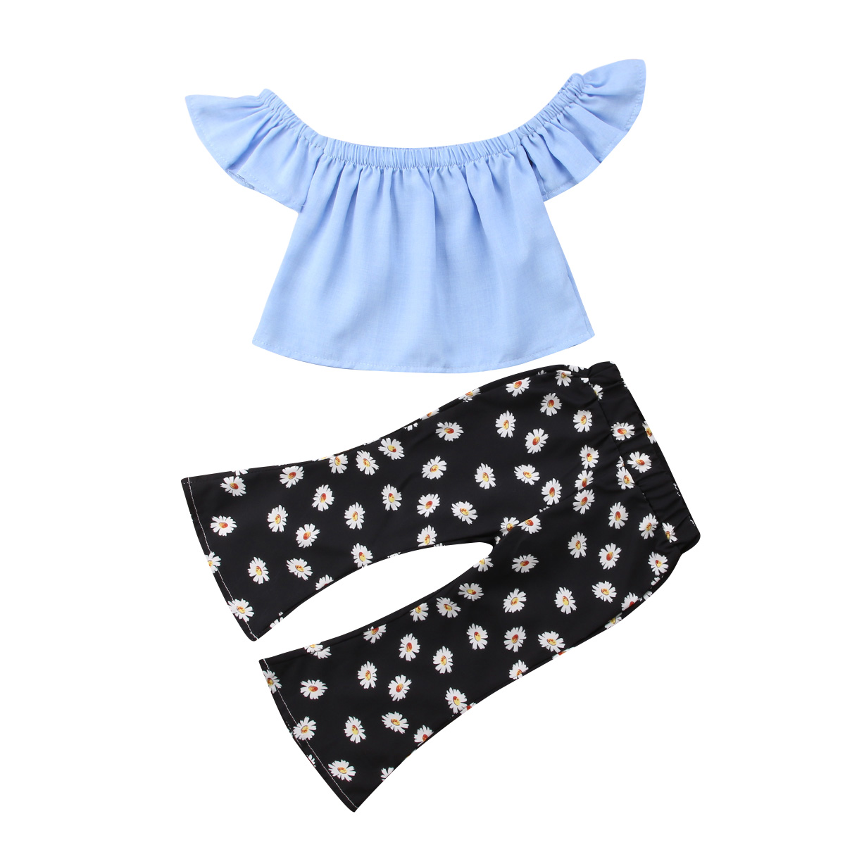 2018 New Summer 2pcs Kid Baby Girls Clothing Set Blue off shoulder Tops+ Flare Pants Flower Girls Clothing