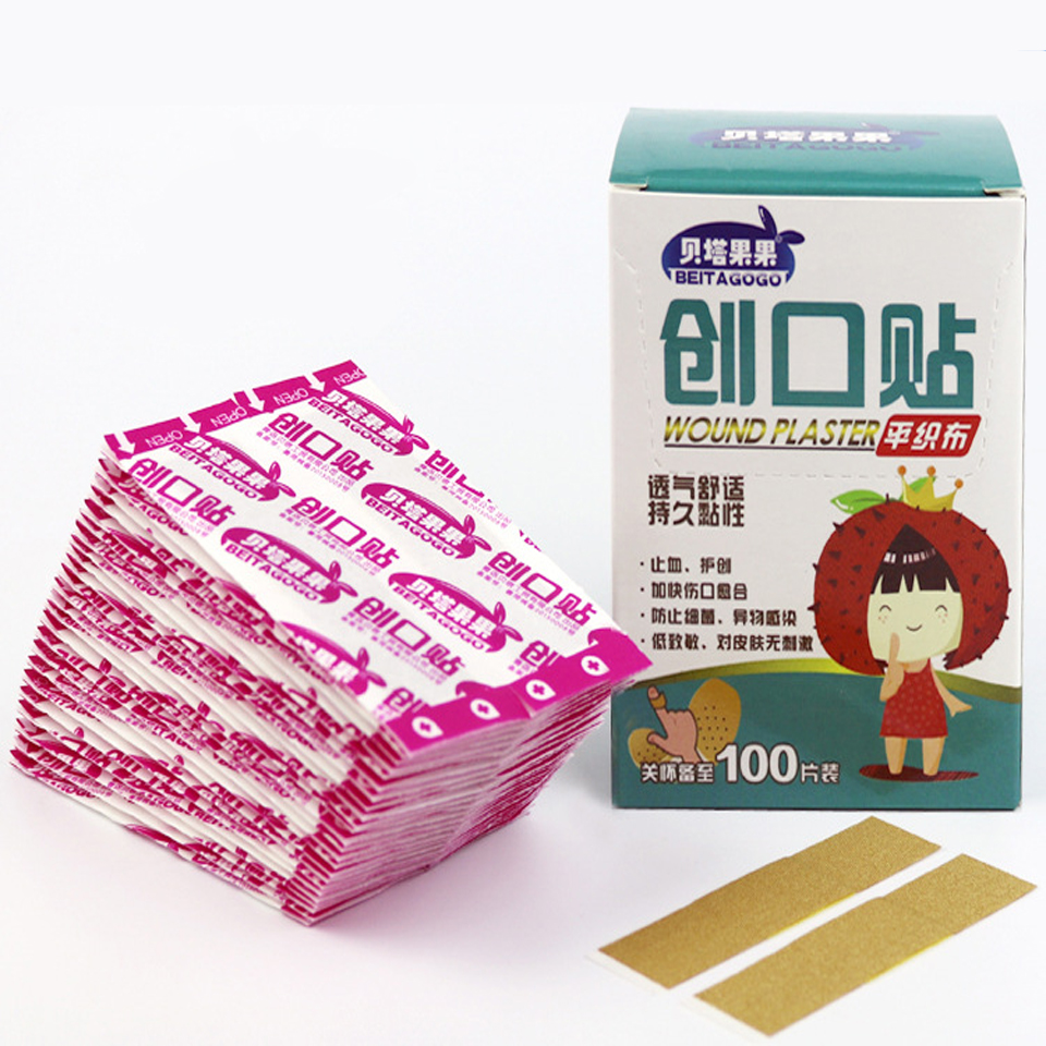 100PCs Box Travel Camping Survival Band-Aid Breathable Wrap Cotton  Of Hemostatic Anti-wear Feet