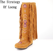 Fashion Chinese Nation Style Flock Leather Women Fringe Flat Long Boots Woman Spring Autumn Tassel Knee High Boots Plus Size 48