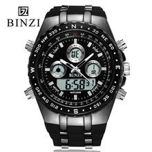 2017 Hombres Reloj Militar Moda BINZI marca de lujo de Relojes Militares de Los Hombres A Prueba de agua Pantalla LED de Acero Inoxidable Reloj xfcs Masculina