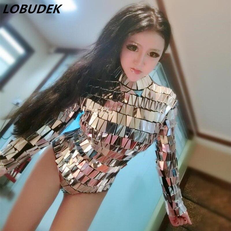 Для женщин Серебристые Светоотражающие зеркало боди Двусторонняя рука Швейные Блестки боди с длинным рукавом певец DJ Подиум сценические к