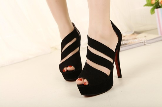 Free shipping, 2013 summer New product High heel sandals Fashion sexy black suede  platform high heels  Red bottom shoes