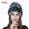 2016 new winter fashion real fur hat rex rabbit fur hat hat lovely warm water ripples roses beanie hat H#1