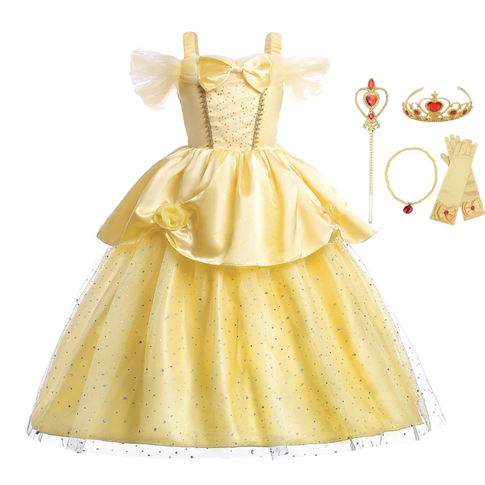 Findpitaya New Girls Bell Princess Three-dimensional Flowers Beauty And The Beast Dress Cosplay Party Christmas Custome