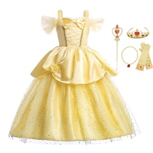 Findpitaya Girls Belle Three Dimensional Flowers Beauty and beast Dress Cosplay Party Christmas Custome