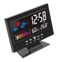 Elektroniczny cyfrowy LCD wskaźnik temperatury i wilgotności zegar termometr higrometr elektroniczny kryty zegar prognoza pogody w domu w Zegarki na biurko i stół od Dom i ogród na