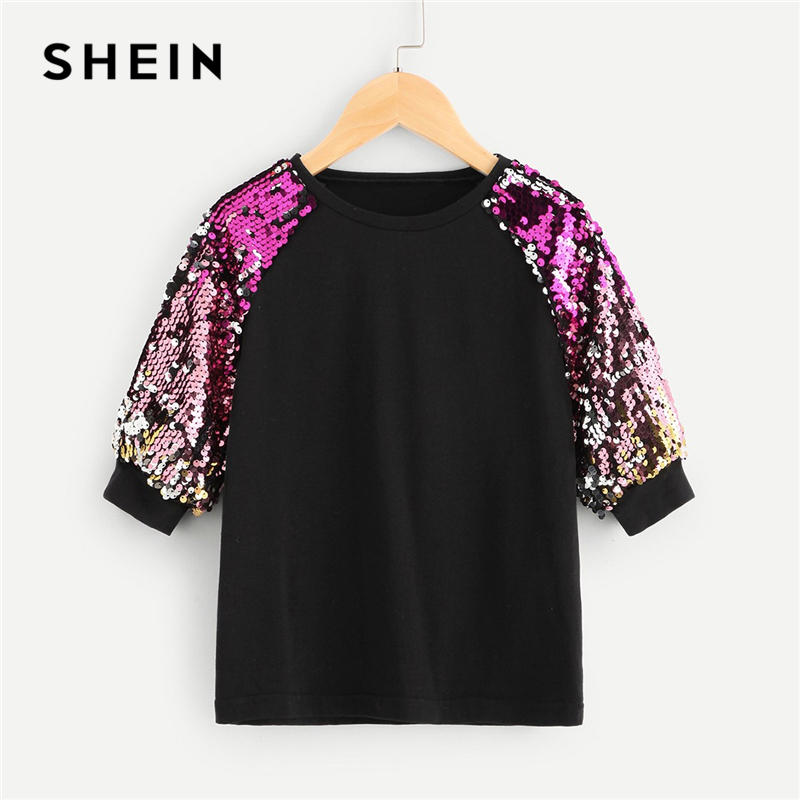 SHEIN Black Turtleneck Casual Kids Sequin T Shirt Girls Tops 2019 Spring Korean Fashion Half Sleeve Children Girls Shirts Tee sequin