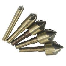 82 Degree Industrial High Speed Steel SAE Countersink Drill bit Set Wood Metal Chamfering Deburring Tool Set , 5 Flutes