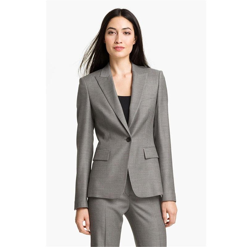 Fashion Pants Suit Suit Gray Lapel Ladies Suit Pants Office Style Custom