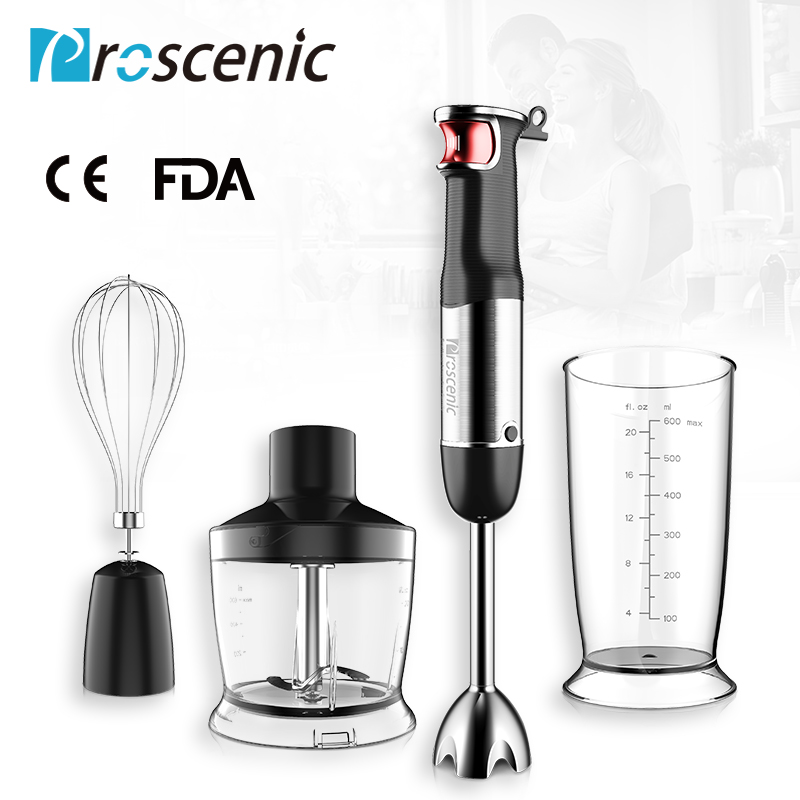 Proscenic Hand Immersion Blender Powerful Smart Speed Control Hand Blender Set 4-in-1 Handheld Stick Blender Mixer BPA-Free Beak