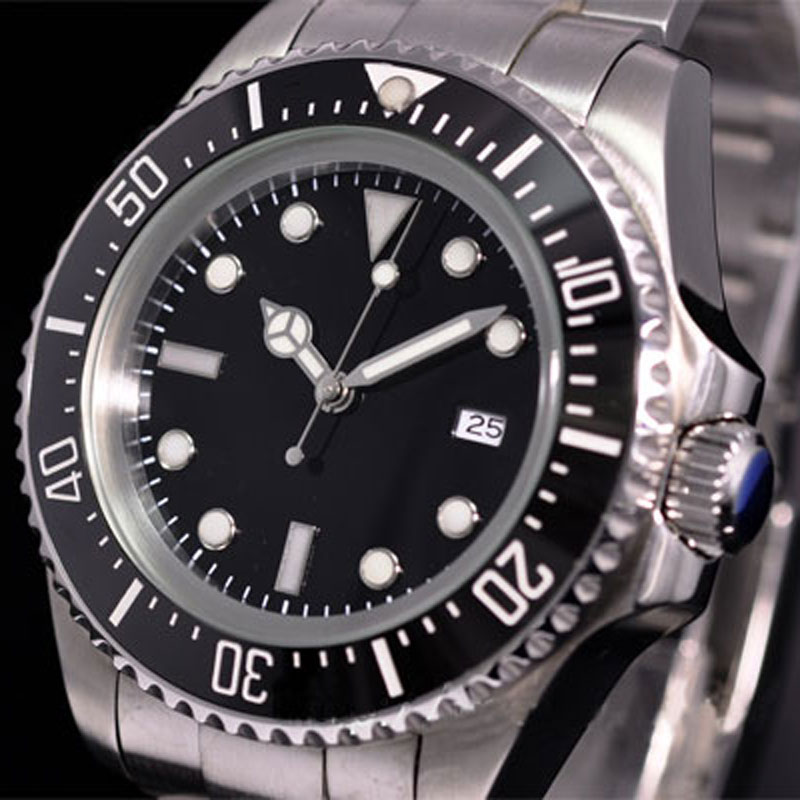 Solid 44mm Black Sterile Dial Stainless Steel Case Luminous Marks Ceramic Bezel Luxury Brand Automatic Movement Men's Watch P65 p65 5 откр