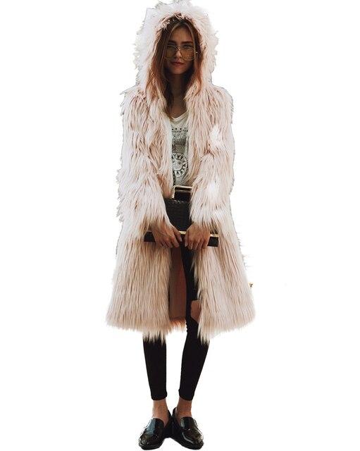 6494db9d27 US $32.5 33% di SCONTO|Donne Faux Fur Giacca Cappotto Con Cappuccio di  Colore Solido Fourrure Lungo Sleeve Fluffy Peloso Pelliccia Falsi Cappotto  ...