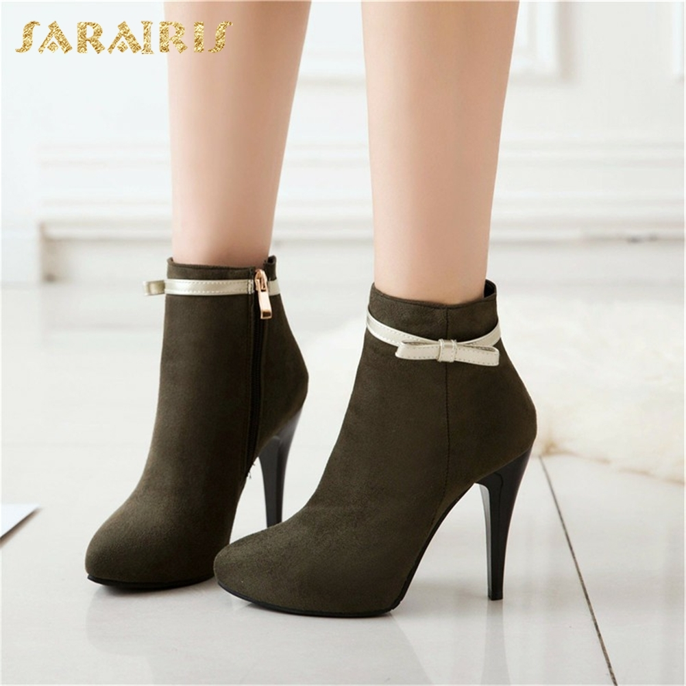 SARAIRIS Plus Size 31-50 Pointed Toe Winter Boots Woman Shoes Sexy Thin High Heels Zip Up Shoes Woman Hot Sale Ankle Boots catching 2016 women pumps plus size 42 fashion sexy pointed toe thin high heels hot sale shoes woman black apricot red wedding