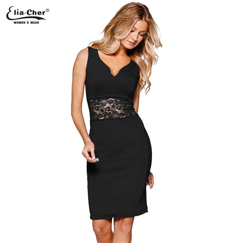 Women Black Bodycon Sleeveless Depp V-neck Vintage Dress Casual Dress Party Evening Sexy Lace Dresses Vestido 8802