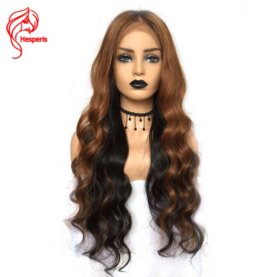 Hesperis Lace Front Human Hair Wigs Pre-plucked Ombre Lace Wigs Silk Straight Remy Hair Lace Wigs Ombre 1b/#33 Highlight