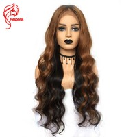 Hesperis Lace Front Human Hair Wigs Pre plucked Ombre Lace Wigs Silk Straight Remy Hair Lace Wigs Ombre 1b/#33 Highlight