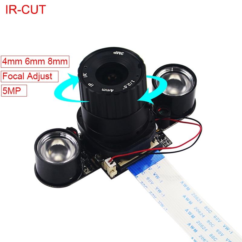 Raspberry Pi 4 Model 5MP Camera IR-CUT 5MP 4 6 8 Mm Focal Adjustable Length Night Vision Cameras For Raspberry Pi 3 Model B+/4B