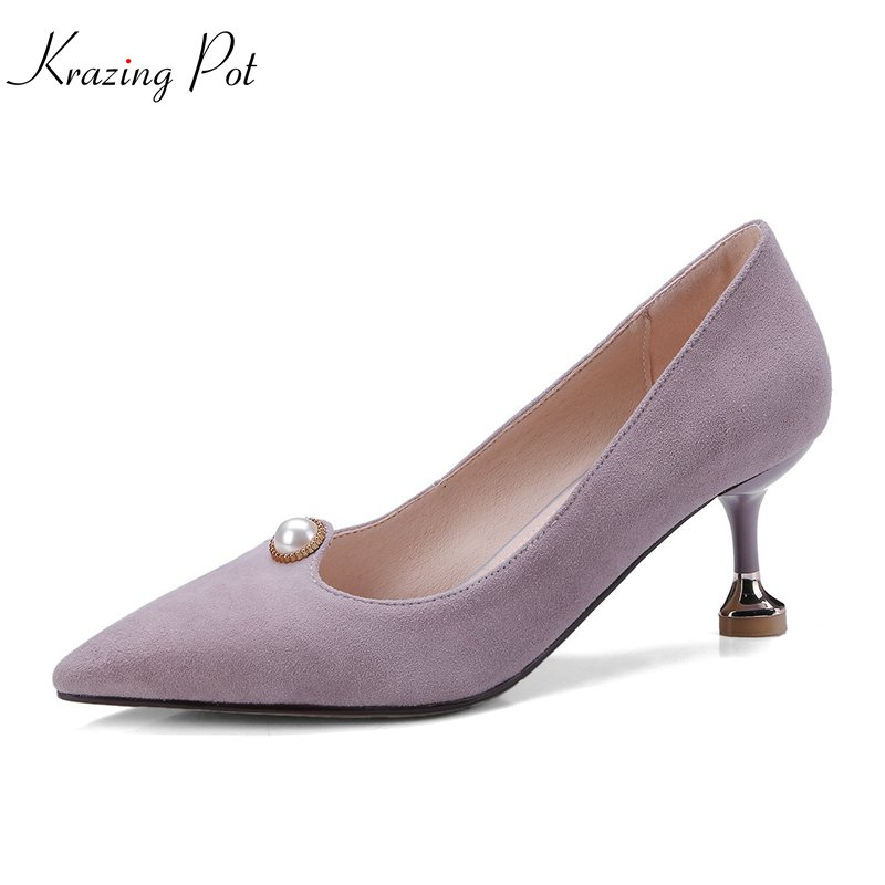 krazing Pot 2018 sheep suede scrub pearl spring women pumps thin high heels simple pointed toe solid wedding shallow shoes L06 krazing pot shallow sheep suede metal buckle thick high heels pointed toe pumps princess style solid office lady work shoes l05