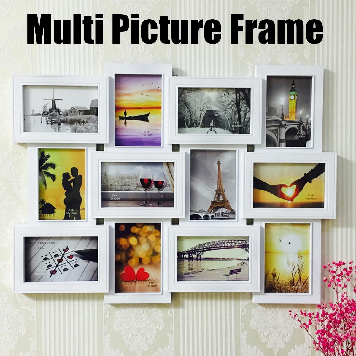 12 unids/set pared marco de fotos de plástico estilo europeo Multi ...