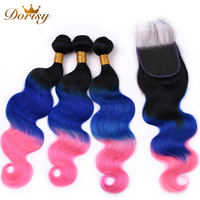 Pre Colored TB Blue Pink Ombre Hair Body Wave Bundles With Closure Human Hair 3 Bundles With Closure Peruvian Remy Hair